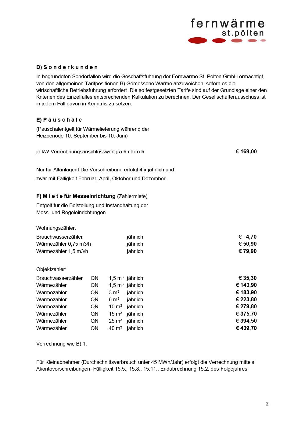 Tarifblatt Seite 2